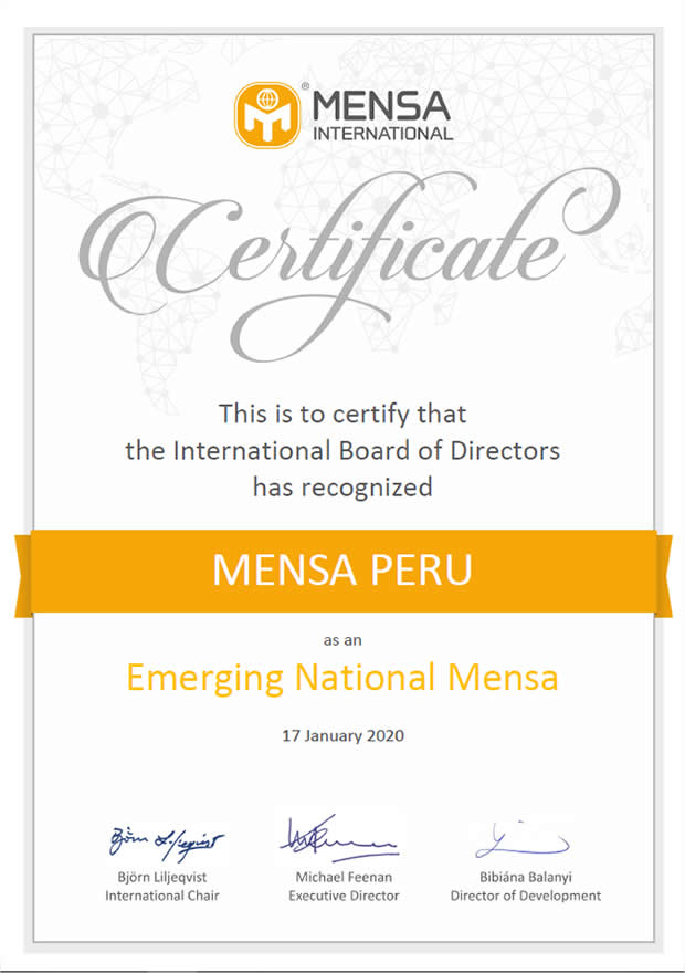 Mensa Nacional Emergente - Mensa Perú
