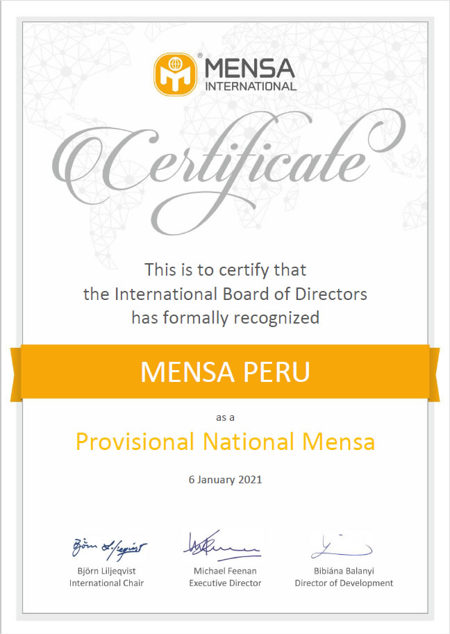 Mensa Perú reconocido como un Mensa Nacional Provisional
